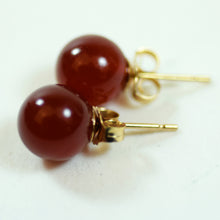 Load image into Gallery viewer, 14 Karat Yellow Gold and Red Jadeite Stud Earrings