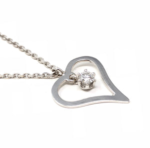 14K White Gold Heart Pendant 0.18ct Diamond Necklace 19.25""