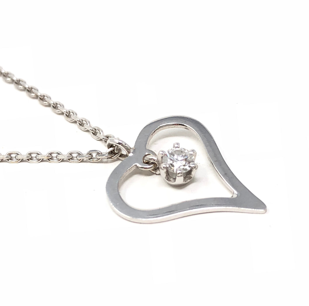 14K White Gold Heart Pendant 0.18ct Diamond Necklace 19.25