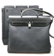 Load image into Gallery viewer, Hermes Toile Herbag 2 In 1 GM AND MM Bags Black with Padlock and Keys