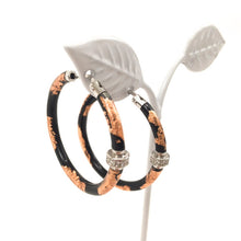 Load image into Gallery viewer, Black Enamel Rose Gold Foil Sterling Silver and Diamond Hoop Earrings