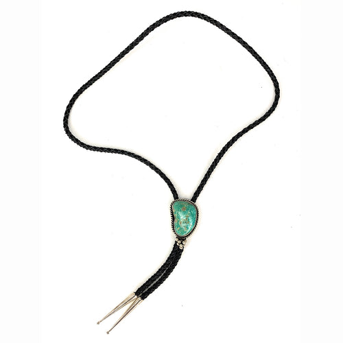 Vintage Native American Sterling Silver & Royston Turquoise Bolo Tie - Signed
