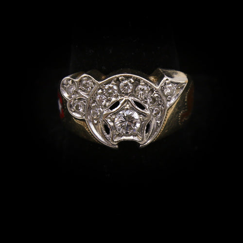 14K Yellow and White Gold Duo-Tone Mens Shriners Ring 0.63ctw Diamond Ring