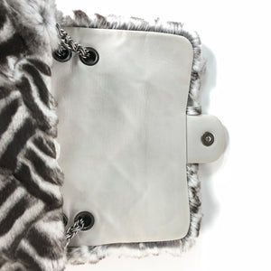 Chanel Limited Edition Black & White Lapine Fur Handbag