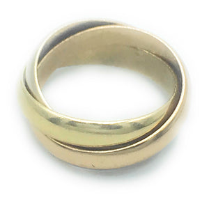 Cartier 18K Tricolor Les Must De Trinity Ring, Sz. 5