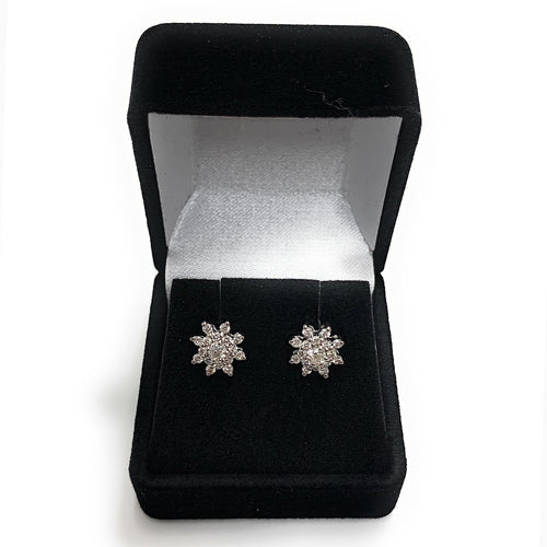 14K White Gold 0.80ctw Rose Cut Diamond Cluster Earrings