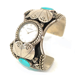 Old Pawn Navajo Mens Turquoise Sedona Watch Cuff Bracelet