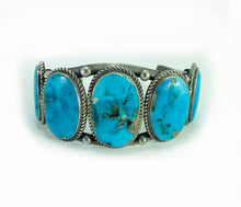 Load image into Gallery viewer, 5 Stone Dry Creek Turquoise Sterling Silver Cuff Bracelet