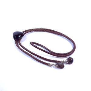 Brown Braided Leather and Onyx Stone Bolo Neck Bow Tie