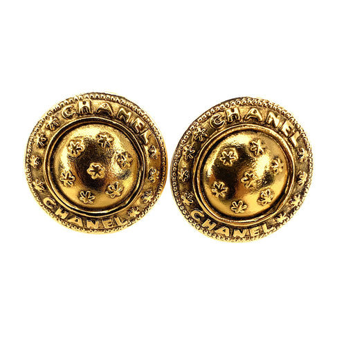 Vintage CHANEL Gold Plated Domed Shield Clip-On Earrings