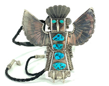 Load image into Gallery viewer, STUNNING Native American Eagle Dancer Sterling Silver & Turquoise Bolo Tie