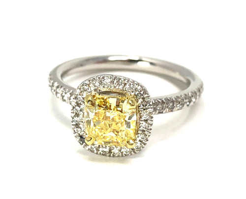 14K Two-Tone Gold 0.99ct Fancy Intense Yellow Diamond Radiant w/ 0.40ct Diamonds Ring