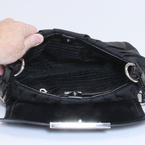 0784747c4937 Prada Black Nylon Leather Silver Hardware Flap Shoulder Bag ...