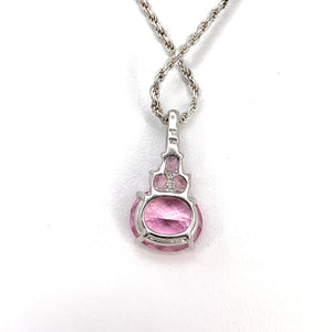 14K White Gold Pink Mystic Topaz Pendant Necklace