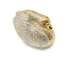Load image into Gallery viewer, Judith Leiber Gold Swan Swarovski Crystal Minaudiere
