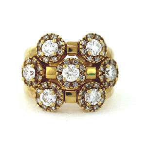 Vintage 14K Yellow Gold 1.50ctw Fashion Diamond Triple Shank Cluster Ring - Sz. 4¾