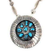 Load image into Gallery viewer, Vintage Navajo Sterling Silver Turquoise & Melon Beaded Brooch Pendant Necklace<
