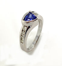 Load image into Gallery viewer, 14K White Gold Star K Genuine Tanzanite Triangle & Diamond Contemporary Modern Designer Ring