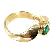 Load image into Gallery viewer, 18K Yellow Gold Swirl Emerald & Diamond Ring - Sz. 10.5