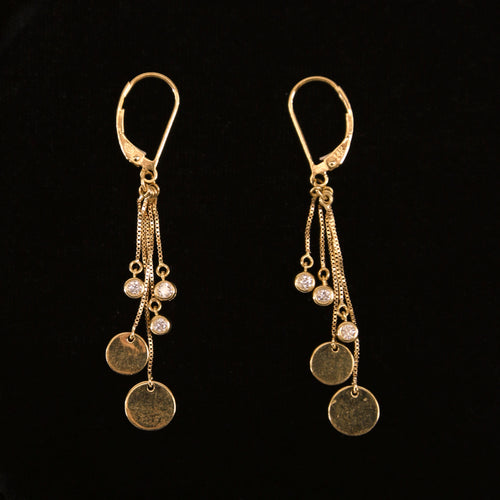 14 KT Yellow Gold Dangle Earrings with 6 Bezeled Diamonds (0.25 ctw)