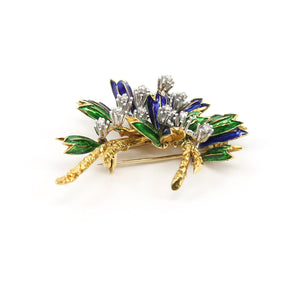 18K Yellow Gold Brooch with Green and Blue Enamel, and 0.25ctw appx Diamonds