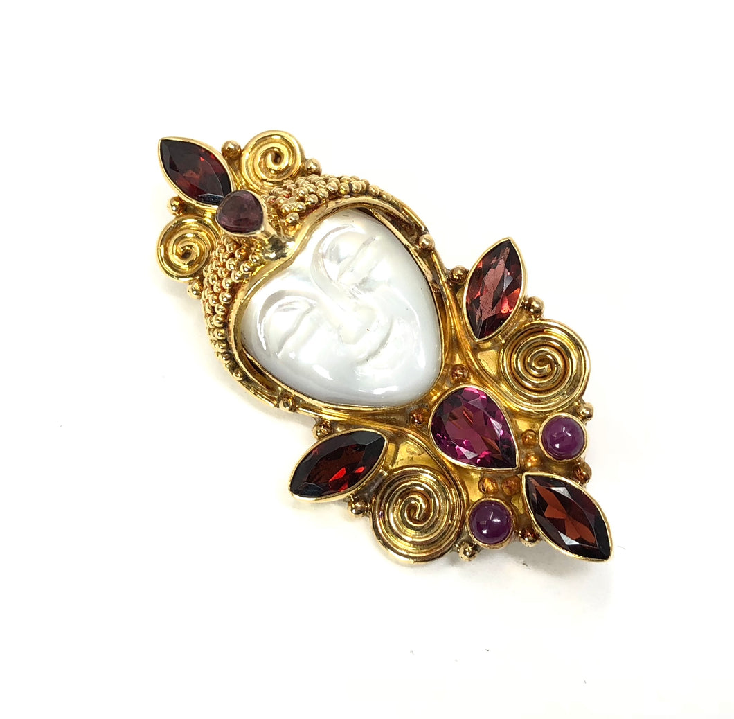 Sajen Offerings Goddess 18k Yellow Gold Garnet Ruby Pin/Pendant