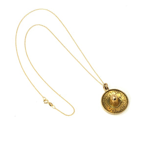 18K Yellow Gold Sombrero Hat Pendant Necklace 18""