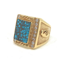 Load image into Gallery viewer, Native American Kokopelli 14K Yellow Gold Turquoise and Diamond Ring