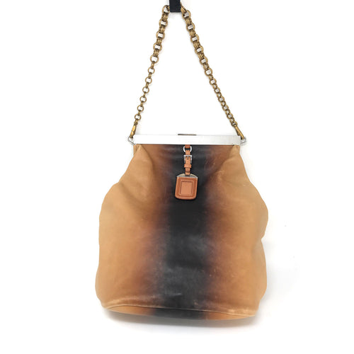 Prada Ombre Vitello Leather Frame Chain Shoulder Bag