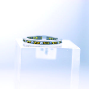 14K White Gold Channel Set Yellow Sapphire & Diamond Eternity Wedding Band  - Sz. 5¾