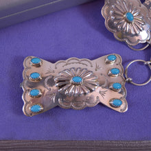 Load image into Gallery viewer, MP Yazzie Native American/ Southwest Sterling Silver and Turquoise Concho Belt