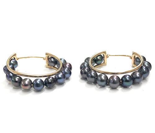 Vintage 10K yellow Gold & Black Pearl Hoop Earrings