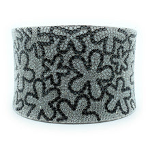 Load image into Gallery viewer, 18K White Gold 19.03ctw White & Black Diamond Wide Hinged Cuff Bracelet
