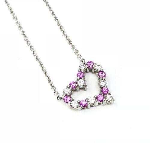 Tiffany Co Sentimental Heart Necklace Platinum Diamond Pink Sapphir Biltmore Lux
