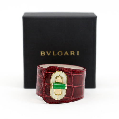 Bvlgari Alligator Bracelet, Burgundy with Green Jade Turn Lock, and Gold-tone Hardware