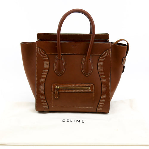 Celine Micro Luggage Tote Handbag Brown Leather