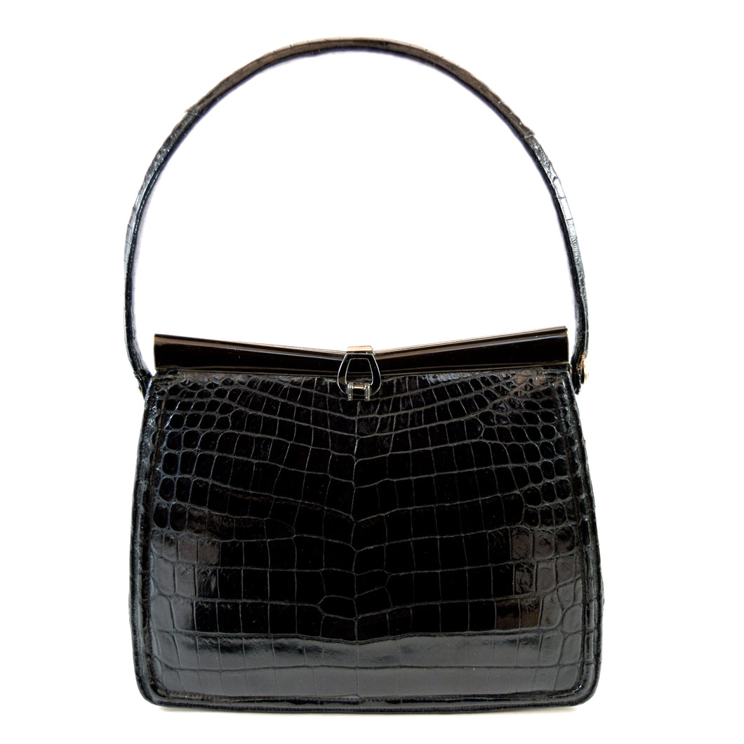 Lucille De Paris Black Alligator Evening Bag Purse