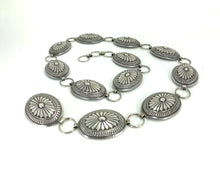 Load image into Gallery viewer, Vintage Traditional Navajo Sterling Silver Concho Belt