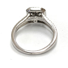 Load image into Gallery viewer, 18K White Gold 1.11ctw Pavé Diamond Split Shank Square Halo Ring - Sz. 4¾