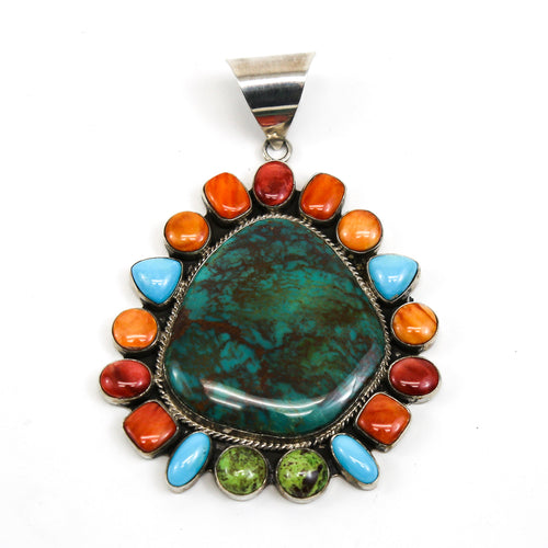Turquoise Pendant with Colorful Stones Halo, Sterling Silver