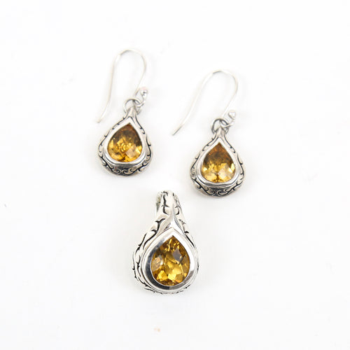 Scott Kay Sterling Silver and Citrine Earrings and Pendant Set
