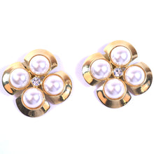 Load image into Gallery viewer, Costume Gold Tone Clip On Earrings with 4 Mabe Pearl Accents