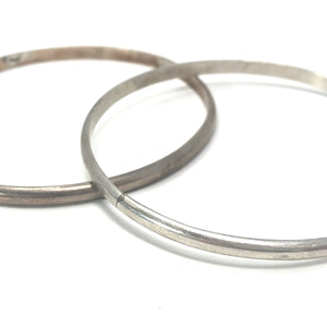 Native American Navajo Tahe Cuffs Sterling Silver Set Of 2 Bracelets