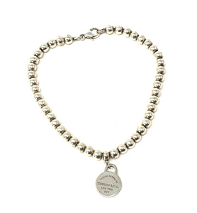 Tiffany & Co Sterling Silver Bead Ball Bracelet 6.75""