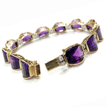 Load image into Gallery viewer, Vintage 14K 2-Tone Gold 36.00ctw Amethyst & Diamond Link Bracelet