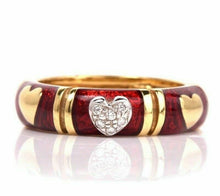 Load image into Gallery viewer, Hidalgo 18K Gold Diamond & Red Enamel Heart Eternity Band - Sz. 5¼