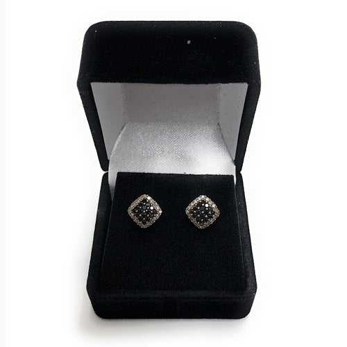 Vintage 10K White Gold 0.60ctw Black & White Diamond Cluster Earrings