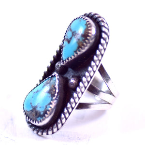 TB Signed Sterling Silver Turquoise Jewelry Ladies Southwest Native American Style Ring