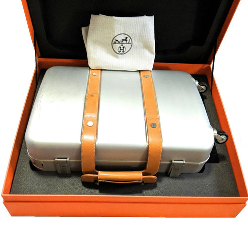 Hermès Aluminum & Vache Naturelle Orion Spinner Carry-On Luggage