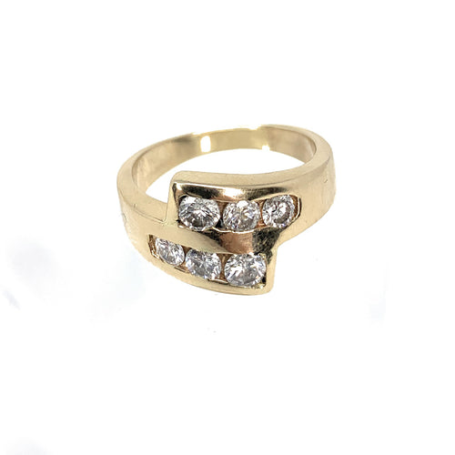14K Yellow Gold 6 diamond Channel Set Ring - 0.90ctw